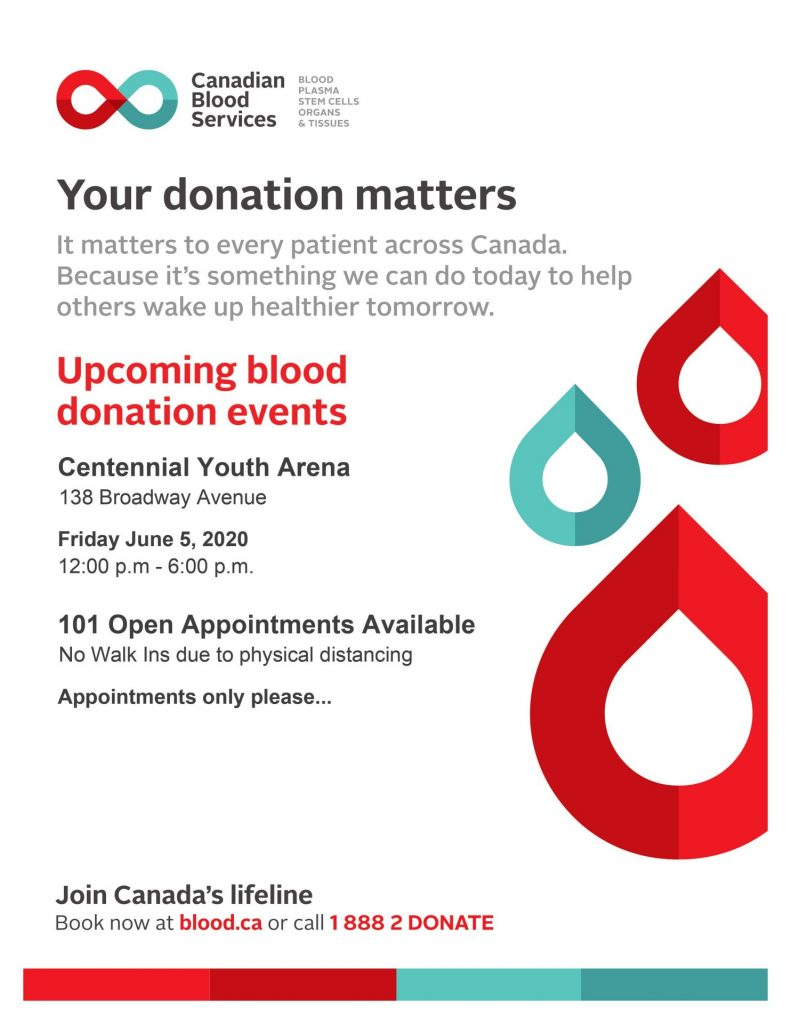 Brockville Blood Donor Clinic Friday June 5th